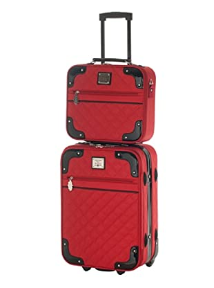 Ines De La Fressange  Set Trolley & Beauty Case Myosotis (Rosso)