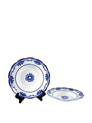 Pair of Flow Blue Lorne Soup Bowls, Blue/White