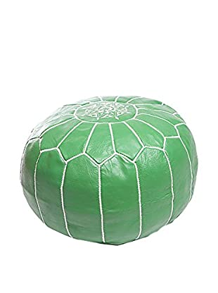 Mili Designs NYC Moroccan Leather Hand-Stitched Pouf, Green