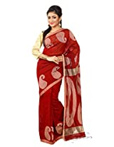 B3Fashion Traditional Bengalhandloom Maroonish red colour Cotton blend silk saree