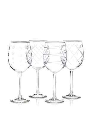 Susquehanna Glass 4-Piece Cut-Glass Barware Set of Mixed Wine Glasses