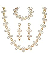 Classique Designer Silver Alloy With Gold Plated Oval Pearl Necklace Set For Women(CP185)