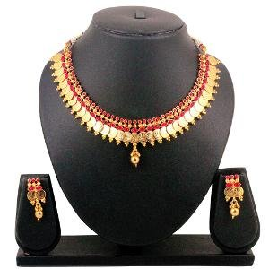 Gold Plated Necklace Set By Spargz - Temple Jewellery