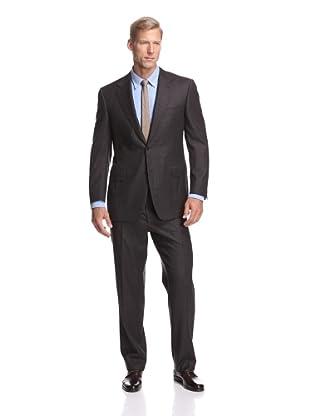 Canali Men's Windowpane Suit (Brown Plaid)