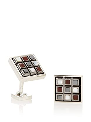 Ike Behar Checkerboard Tiger's Eye/Carnelian/Mother of Pearl Cufflinks