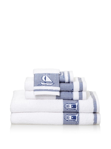 Espalma Summer at the Shore Farol 6-Piece Bath Towel Set, White/Blue