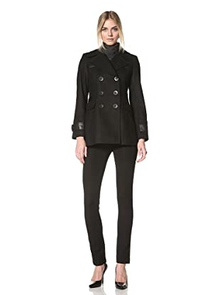 Via Spiga Women's Pea Coat with Faux Leather Trim (Black)