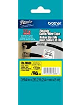 Brother Laminated Flexible ID Black on Yellow 1-inch Tape (TZeFX651)