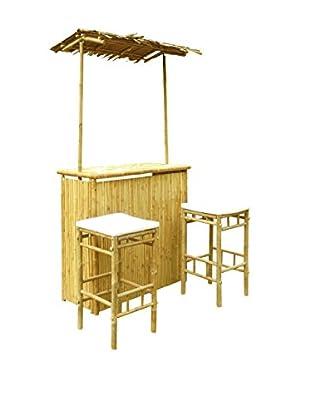 ZEW, Inc. Outdoor Bamboo Bar Set, White