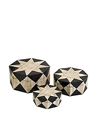 Set of 3 Lanta Bone Inlay Boxes, Beige/Black