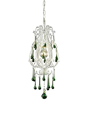 Artistic Lighting Opulence 1-Light Pendant, Antique White/Lime Crystals