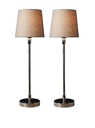 Filament Set of 2 Slim Round Table Lamps, Taupe/White
