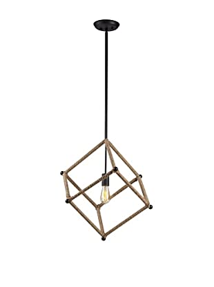 Bel Air Lighting Hemp Rope Black Cube Pendant Light
