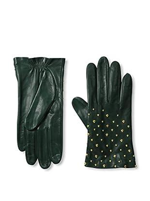 Portolano Women's Studded Leather Gloves (Conifer/Gold Studs)