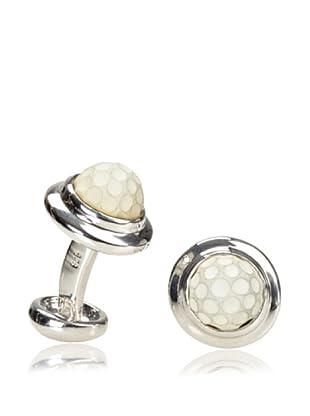 Rotenier Globe Cufflinks, Silver/White