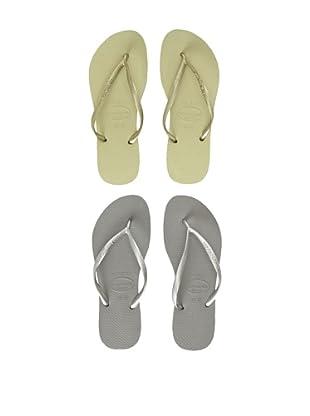Havaianas Unisex Flip Flop - 2 Pack (Grey/Sand Grey)
