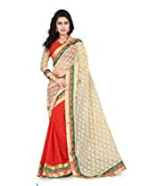 Orange Stylish Fancy Saree