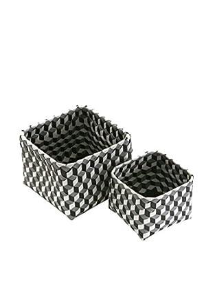 Zings Set 2 Cestas 3D Gris / Blanco / Negro
