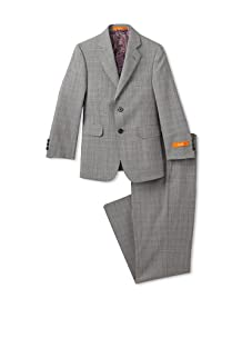Tallia Orange Boy's Worsted Wool 2-Piece Suit with Flat Front Pant (Black & White Plaid)