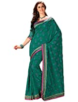 Orbymart Green Color Raw Silk Saree - 55208366
