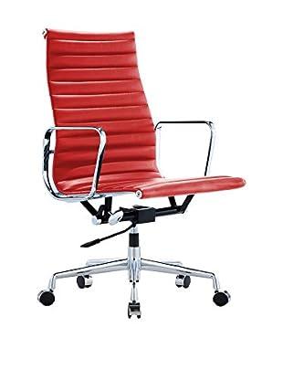 Silla Charles Aniline Premium Piel Rojo