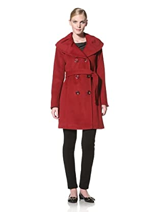 Ellen Tracy Women's Double-Breasted Belted Coat (Ruby Red)