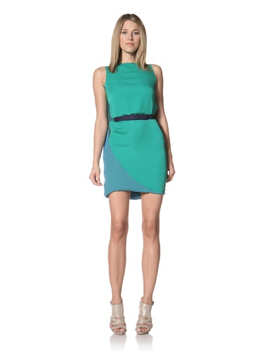 Halston Heritage Women's Cape Back Dress with Self Belt (Grass/Teal)