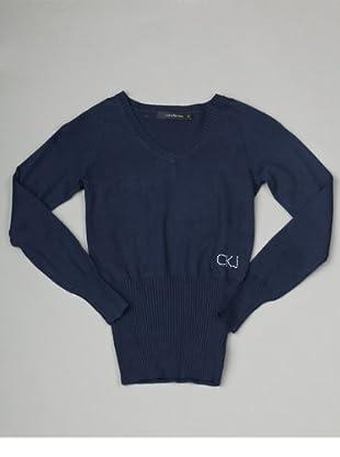 Calvin Klein Jeans Longsleeve V-Neck (Dunkelblau)