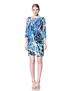 Muse Women's Side Ruched Splash Print Dress (Blue)