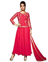 Inddus Women Pink Colored Georgette Unstitched Dress Material