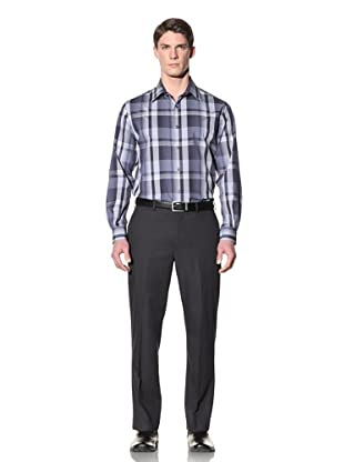 Perry Ellis Men's Exploded Ombre Plaid Shirt (Ink)