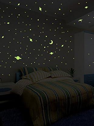 Ambiance Sticker Wandtattoo 150 tlg. Set Universe Stars And Planets Fluorescent