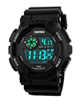 Gosasa Mens Outdoor Sports Waterproof Multifunctional Watch Casual LED Digital Wrist Watches (Black)