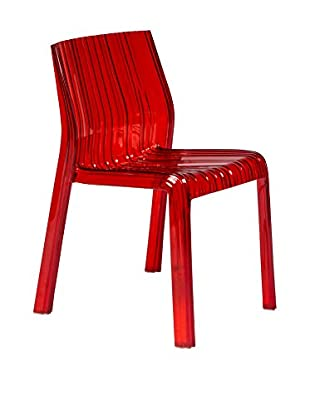 LeisureMod Ruffle Modern Dining Chair, Transparent Red