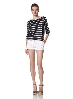 525 America Women's Long Sleeve Stripe Pullover (Darkest Indigo Combo)