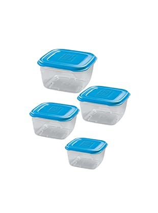 GiòStyle Set 4 Contenitori Quadrati azzurro