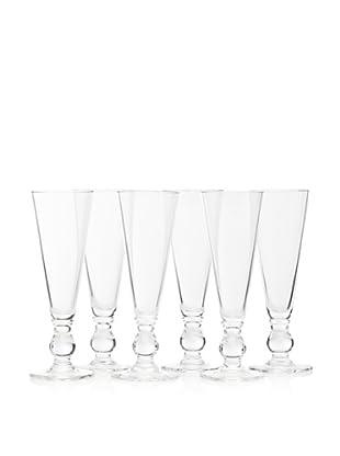 La Rochère Set of 6 Bocage Décor 5-Oz. Champagne Flutes