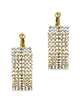 Golden white glass hoop earrings