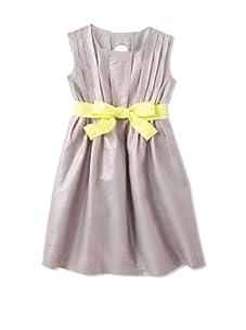 kicokids Girl's Pleated Dress with Tie (Potpouri)
