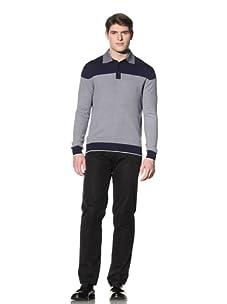 Cruciani Men's Crewneck Knit Sweater (Navy Blue/White)