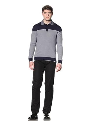 Cruciani Men's Crew Neck Knit Sweater (Navy Blue/White)
