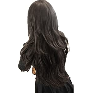 Womens Girls Fashion Wavy Curly Long Hair Human Full Wigs + Hairnet Black
