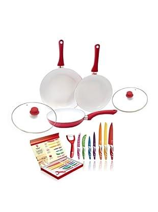 Royalty Line Set 7 Cuchillos + Set 3 Ceramic Pan Con Tapa Roja