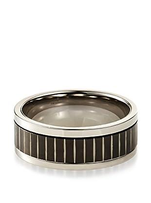 STEELTIME Black & White Stainless Steel Spinner Ring
