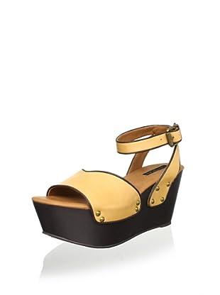 Calvin Klein Jeans Women's Calla Platform Sandal (Yellow/Dark Brown)