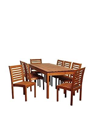 Amazonia Hawaii 9-Piece Eucalyptus Rectangular Dining Set, Brown