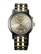 Orinet Men Black Dial Silver & Gold Metal Strap Round Shape, Made in Japan
