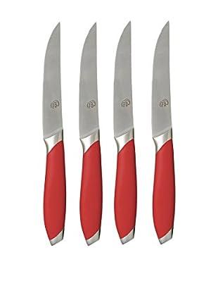 Gela 4-Piece Nitrogen Infused Steak Knives, Red