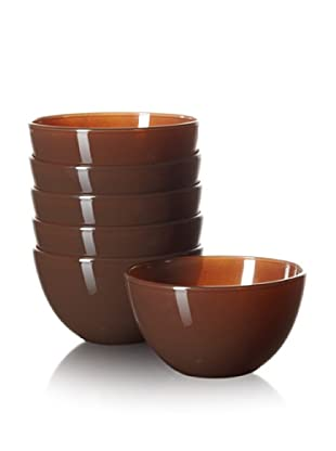 10 Strawberry Street Set of 6 Love Appetizer Bowls, Chocolate, 4.75