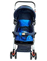 Mee Mee Baby Pram with Adjustable Seating Positions and Reversible Handle (Dark Blue)